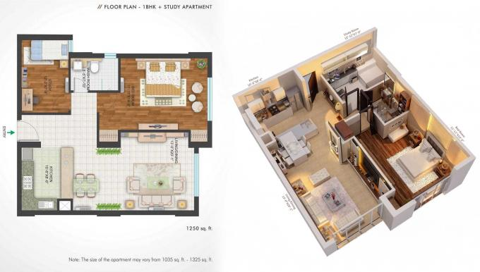 1 Bedroom Study Room Kitchen Living Hall Furnished